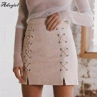 Adogirl Vintage Suede Leather Lace Up Pencil Skirts Autumn Winter Cross High Waist Skirt Zipper Split