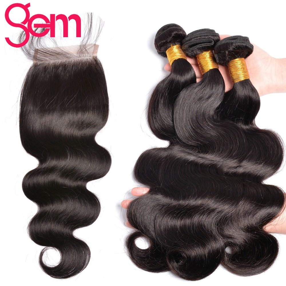 Peruvian Hair Body Wave Bundles With Closure Human Hair Bundles With Closure GEM Non Remy Hair