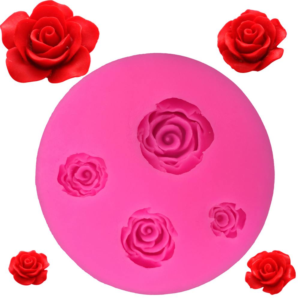 Factory outlet silicone mold four rose bouquet cake lace mold factory outlet silicone mold four rose bouquet cake lace mold diy kitchen baking tools birthday party wedding cake decoration junglespirit Images