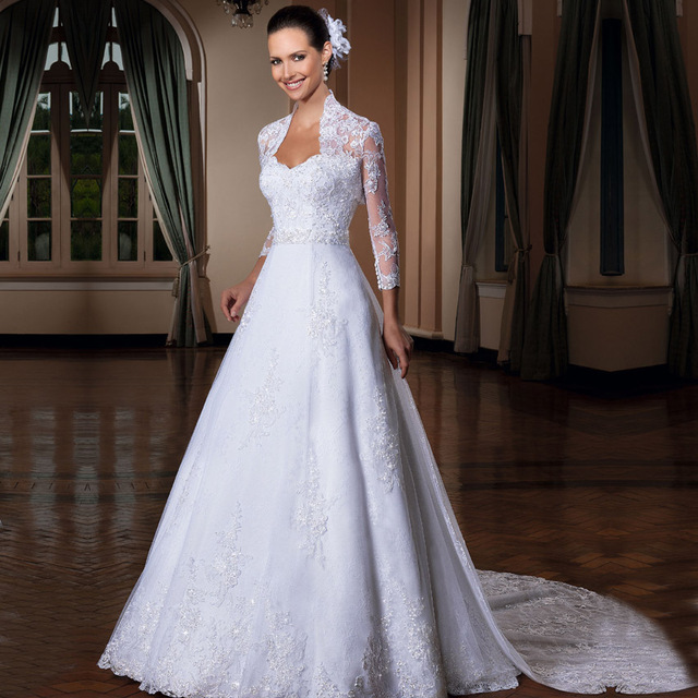 Vestido De Noiva Y Lace White Wedding Dress Detachable Train See Through Long Sleeve Dresses