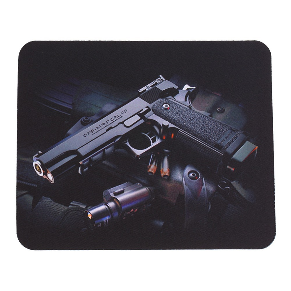 цена на 22*18cm Guns Picture Anti-Slip Laptop Computer PC Mice Gaming Mouse Pad Mat Mousepad For Optical Laser Mouse Wholesale