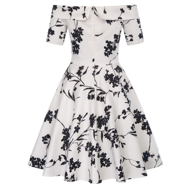 7db4eacb50084 US $18.43 44% OFF|Women Summer Dress 2018 Off Shoulder Floral robe Retro  Party Dresses Cotton Skater Casual 50s Vintage Rockabilly Dress Vestidos-in  ...