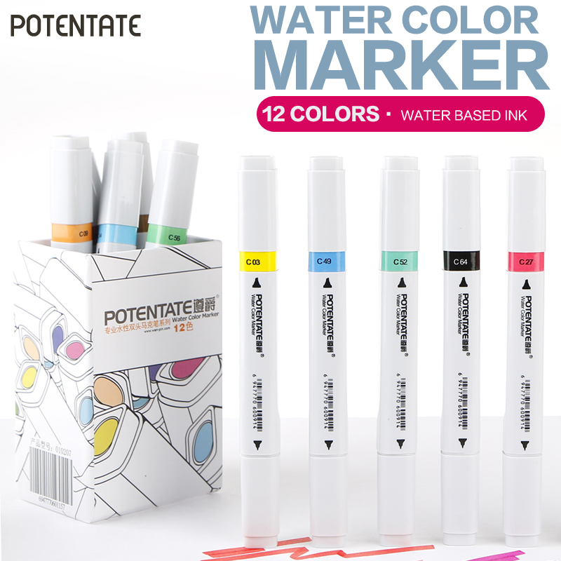 POTENTATE 12Pcs DuaL Head Art Marker Set Beginner Water Color Markers for Artist Desinger Drawing Manga Pen Art Supplier superior 60 80 218color dual soft head artist sketch marker alcohol based markers manga pen for artist drawing supplier