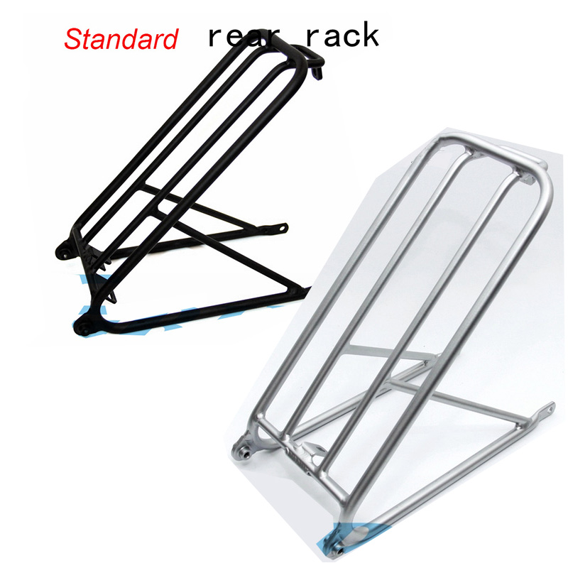 2Colors Aluminum Alloy Bicycle Standard Rear Rack for Brompton Folding Bike R and L Fender Super Light Shelf black silver partol black car roof rack cross bars roof luggage carrier cargo boxes bike rack 45kg 100lbs for honda pilot 2013 2014 2015
