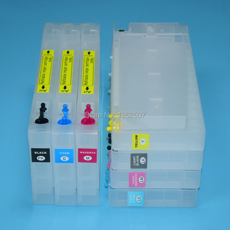 T5441-T5447 7600 9600 300ml Empty refill inkjet printer cartridges with chip for Epson Stylus PRO 7600 9600 Photo printing 7pcs chip decoder for epson stylus pro 4000 7600 9600 printer decoder board
