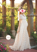 Maternity Dress For Photo Shooting Round neck White Dress Maternity Photography Props Short Sleeve Lace Pregnant