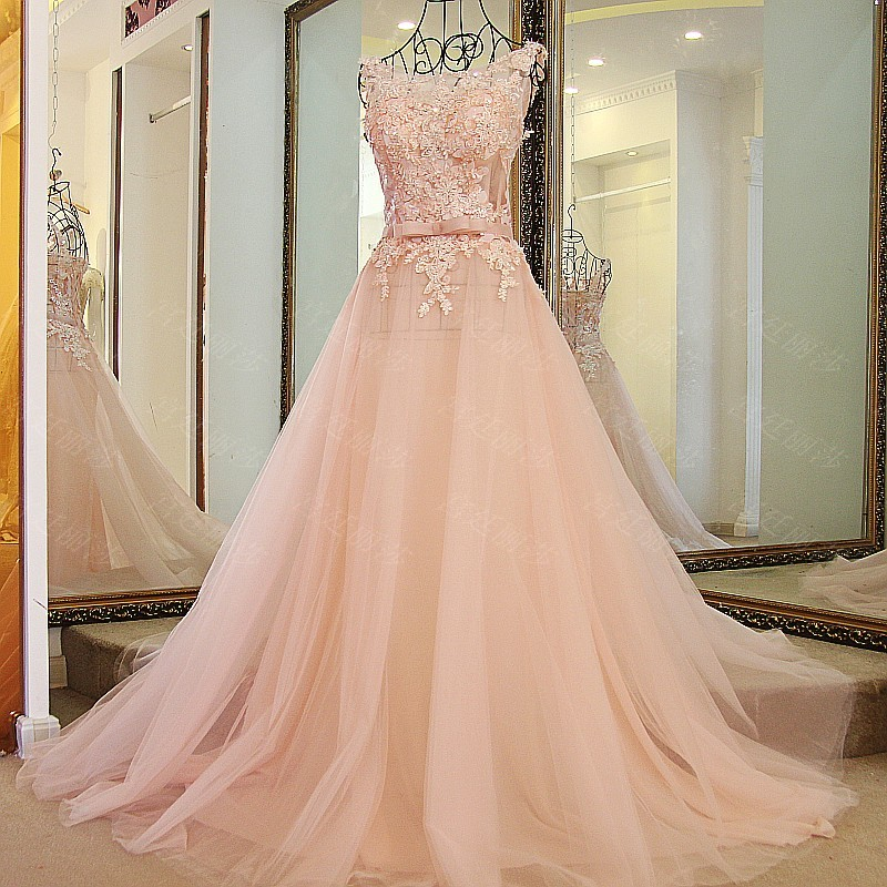 Real Photos Cheap Nude Pink Lace Wedding Dress 2017 Scoop -9995