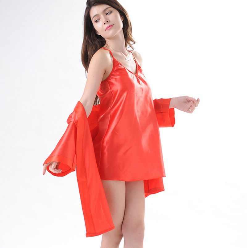 ... Women Sexy Silk Satin Bride Gown Robes Lingerie Kimono Solid Nightdress Bathrobe  Sleepwear Pajamas Set ... 4a5506fdc