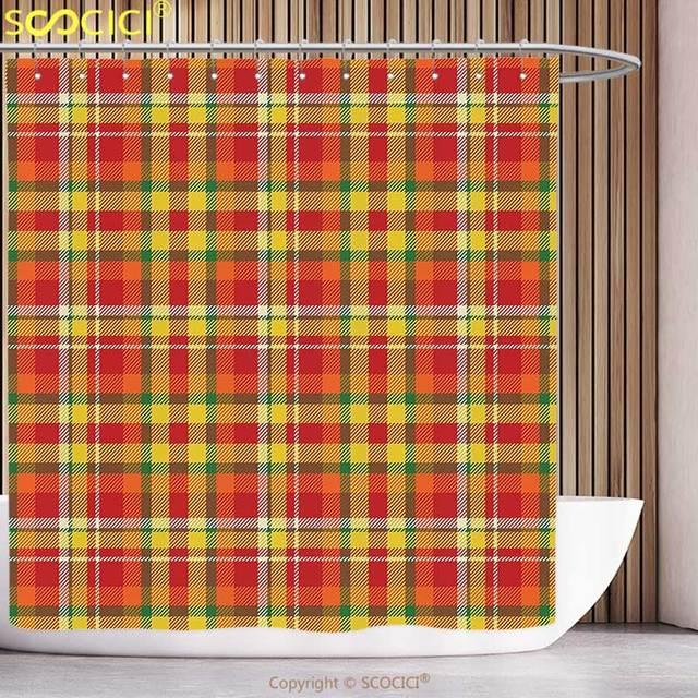 44 97 Unique Rideau De Douche Geometrique Classique Britannique Ecossais Tartan Motif Colore Design Tuile Illustration Vert Rouge Orange Dans