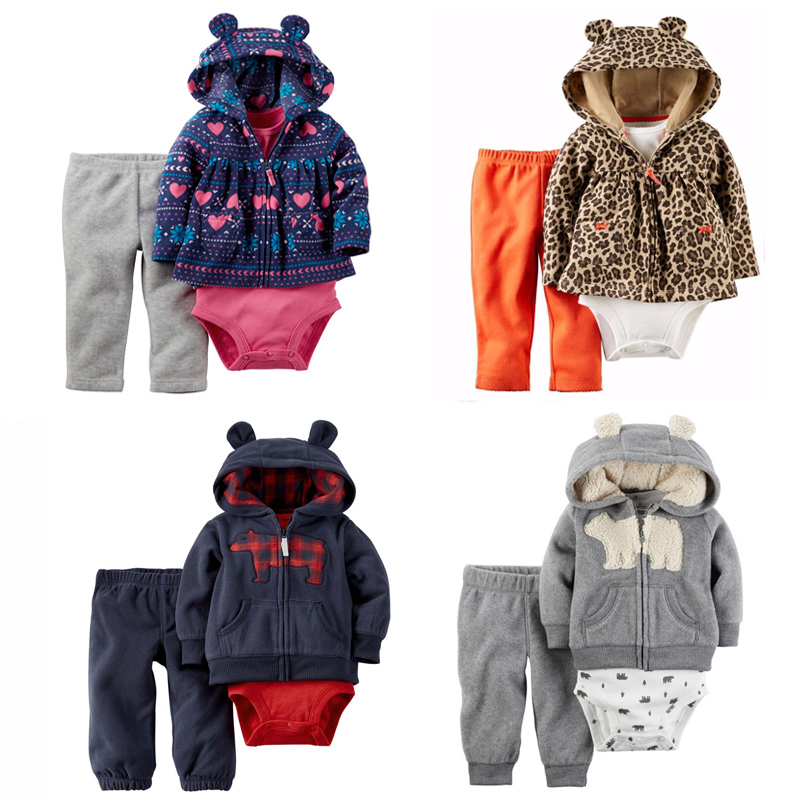 Baby Boy Girl Clothing set 3pcs Bodysuit Hooded Long-Sleeve Outwear soft Cotton Long Pants Bebes Boys Girl set