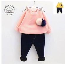 2016 New Girl Spring Autumn Sweatshirts For Girls Children Corlorful Fashion Outwear With Pearl & Bow Necklace Girls Clothing