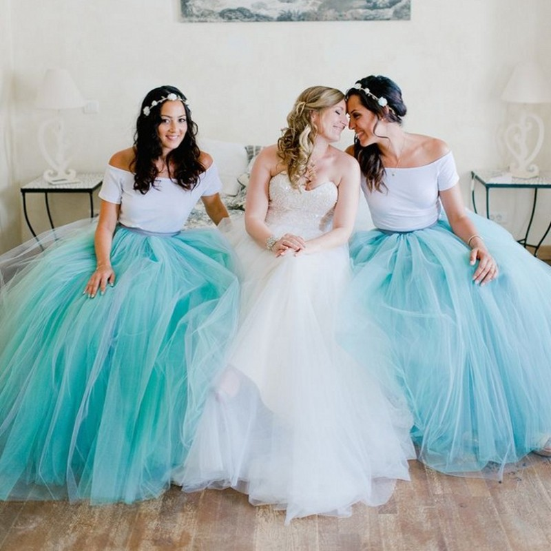 6 Layers White Blue Petticoat Long Bridesmaid Dresses Ball Gown Voile Ruffles 100cm Underskirt Crinoline Wedding Accessories