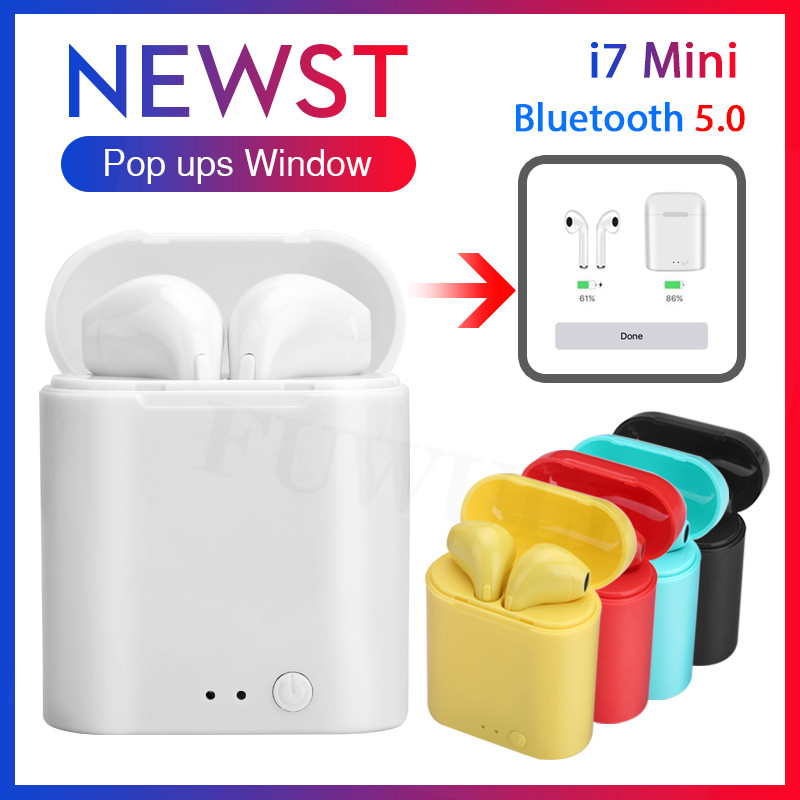 d5529397163 i7 Mini TWS Wireless Bluetooth 5.0 Earphone Pop ups Double Earbuds With  Charging Box Mic Sport