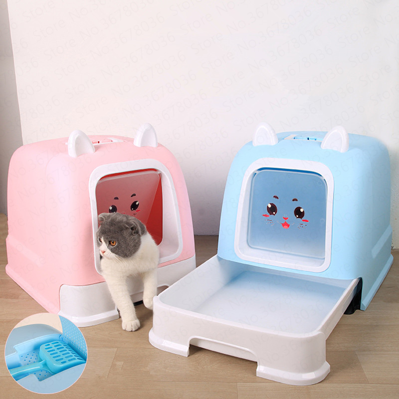Pink Fully Enclosed Cat Litter Box Deodorant Anti splash Large Cat Toilet with Drawer Cat Supplies Cat Toilet Training Kit|Cat Litter Boxes| |  - title=