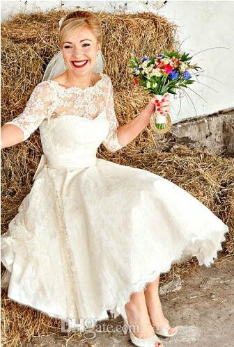New Vintage Style Half Sleeve Tea Length A Line Short Lace Wedding Dresses Bridal Gowns