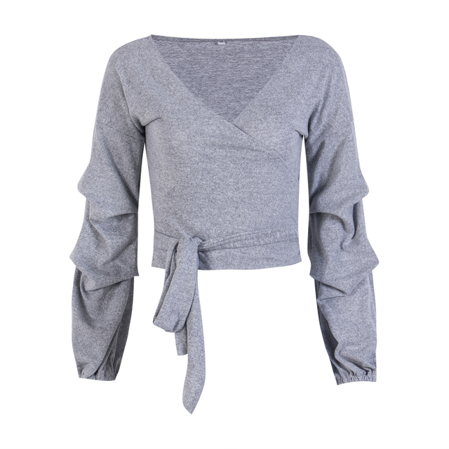 1b7deb91c966 2018 New Women Knitted Jumper Gray Khaki Sweater Top Pullover Knitwear  Bandage V-neck Crop Sweaters Tops Spring Fall