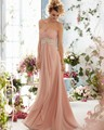 Sweetheart Plus Size Bridesmaid Dresses Long Chiffon Wedding Party Gowns With Rhinestones Beads And Lace-up Back LPM-148