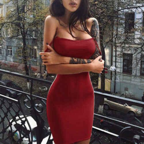 Verão sexy moda feminina clubwear sólido vermelho quente magro casual sem mangas cores puras bodaycon vestidos