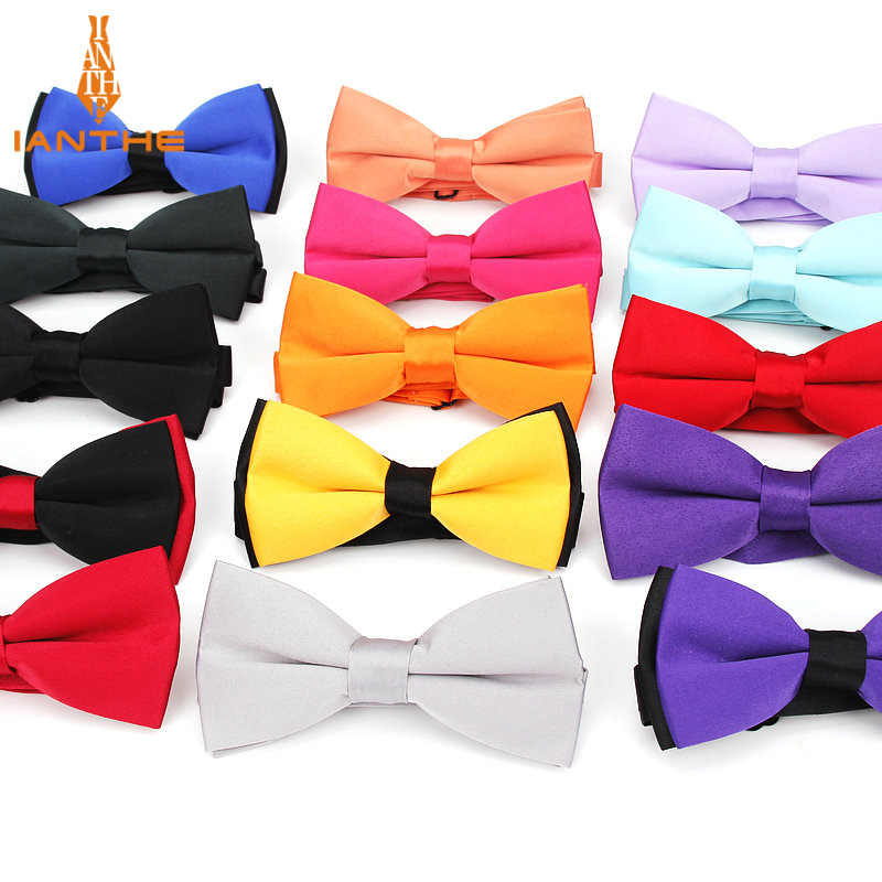 dde43dee07f3 2018 Brand New Men's Fashion Polyester Silk Solid Neck Bowtie For Man  Wedding Vintage Suits Bow