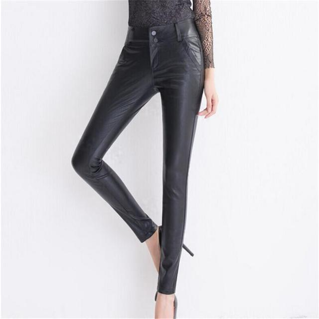 Punk Rock Leggings Female Pu Women Clothes Matte Faux Leather Leggins Sexy Thin Women Legging High Elasticity Trouses Plus Size