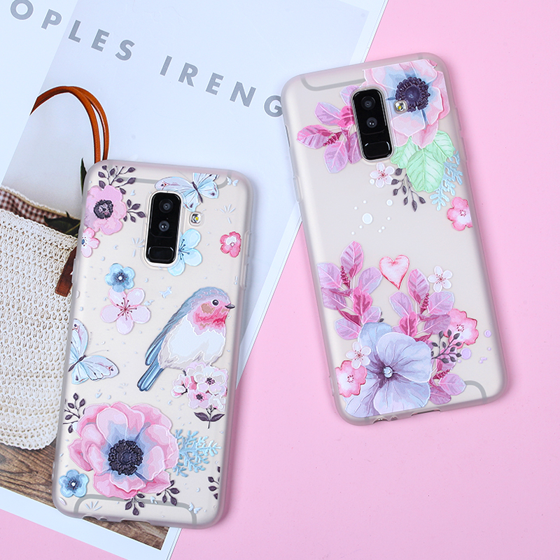 Image 2 - EIRMEON 3D Relief Case For Samsung Galaxy A6 Plus 2018 S8 S7 Edge S9 Plus A5 2017 J2 J3 J5 J7 A3 A5 A7 2016 J6 2018 Floral Cases-in Fitted Cases from Cellphones & Telecommunications