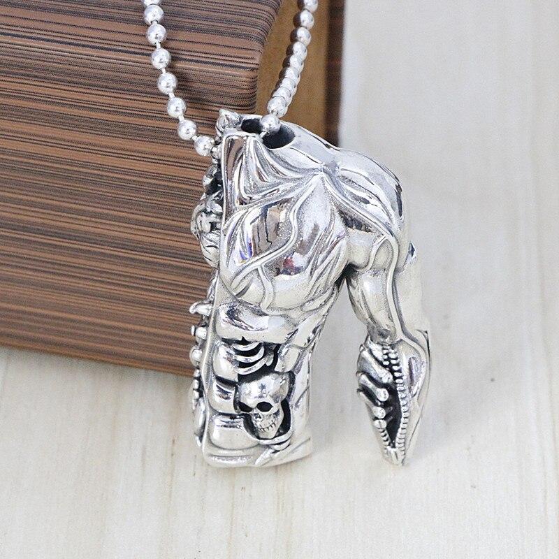 Здесь продается  Sterling Silver Half Body Model Pendant Gothic Non-mainstream Sweater Chain Pendant Male Ornament Necklace Decoration  Ювелирные изделия и часы