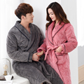 Russia Winter 2017 Bath Robe Couples Bathroom Robe Men Bathrobe Women Quilted Pajama Thick Long Spa Robe Shower Homewear Coral F