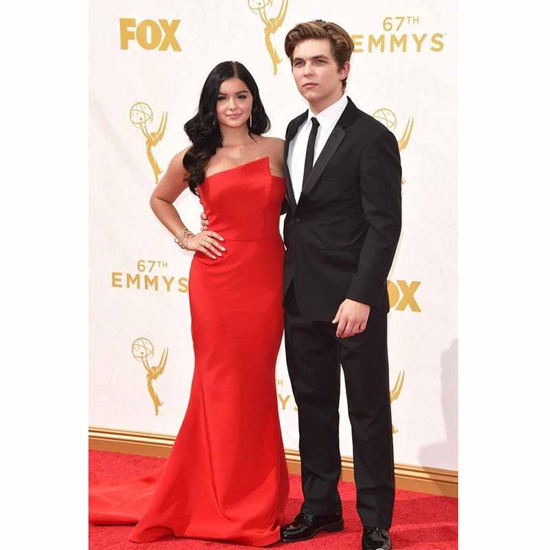 Ariel Winter 2017 Emmy Awards Red Carpet Dresses Red Satin Mermaid