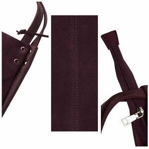 Image 4 - Новинка, женская сумка из натуральной замши и спилка, дизайнерские женские вместительные сумки на плечо, однотонная Повседневная дорожная сумка