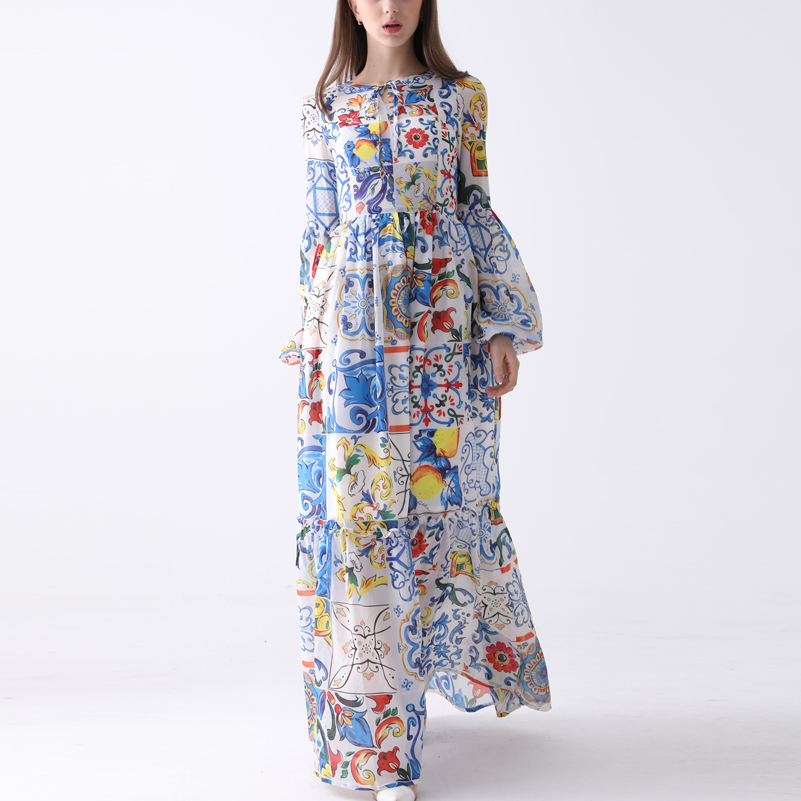 Newest Fashion Designer Maxi Dress <font><b>7XL</b></font> <font><b>Plus</b></font> <font><b>size</b></font> <font><b>Women's</b></font> Long Sleeve Boho Colorful Flower Print Beach Casual Long Dress image