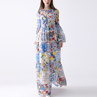 Newest Fashion Designer Maxi Dress 7XL Plus size Women's Long Sleeve Boho Colorful Flower Print Beach Casual Long Dress