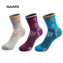 SANTO Coolmax /Cotton wome Cycling Socks High Elasticity Outdoor Sports Socks Deodorant Breathable Hiking Running Socks 3 Colors