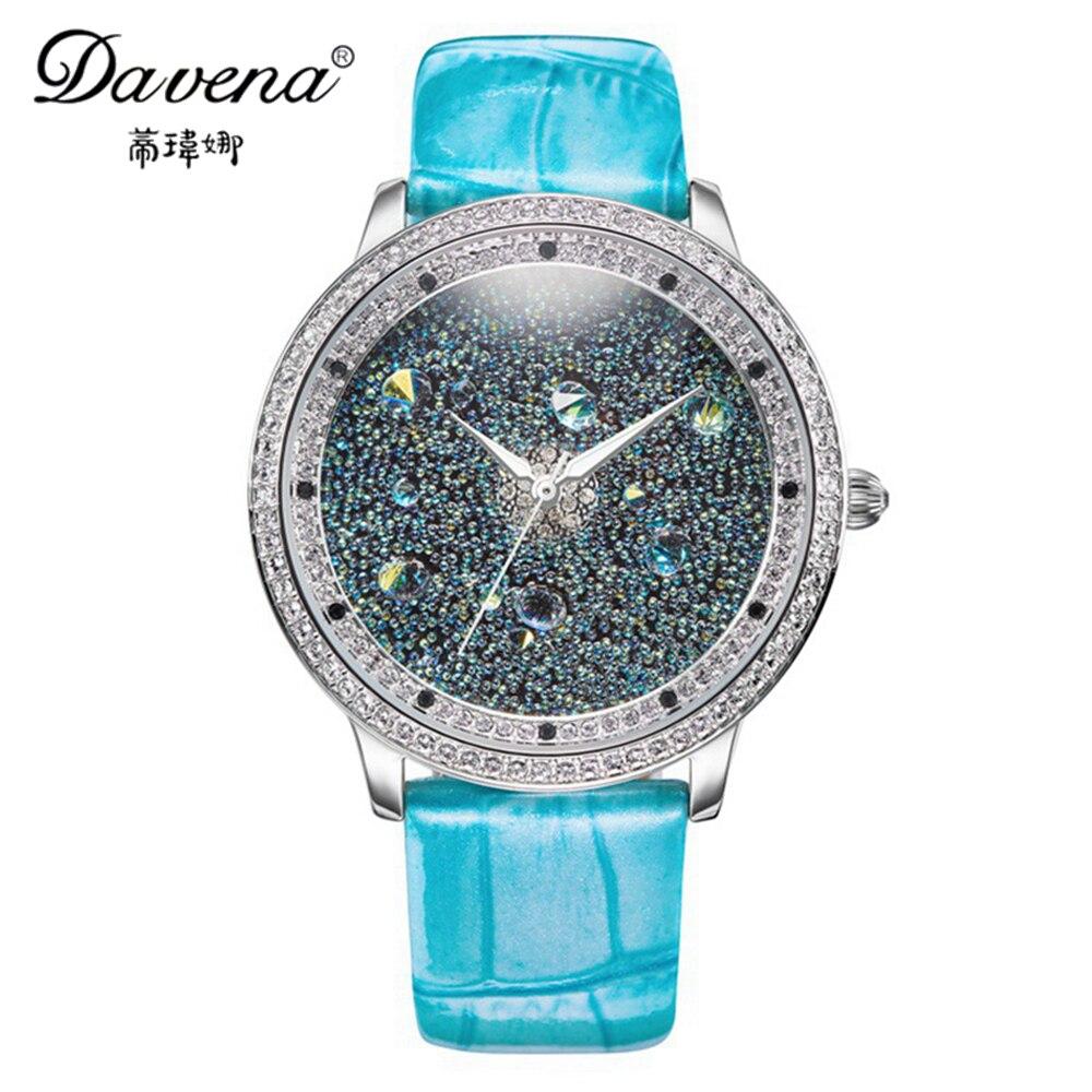 2016 Women's luxury high quality Austrian crystal wristwatch women rhinestone jewelry watches fashion quartz watch Davena 31022