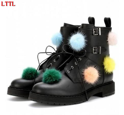 Punk style boots women colorful pompoms decor leather Ankle Boots Round toe lace up Strap buckled martin boots zapatos mujer twisee new lace up ankle boots zapatos mujer women genuine leather boots vintage style flat booties round toe women s shoes