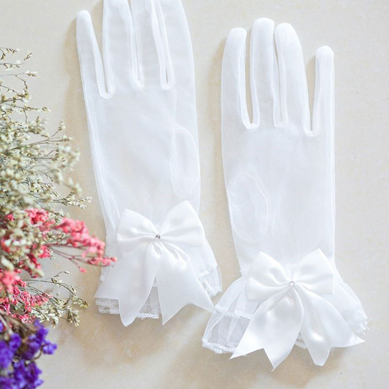 Wholesale New Bride Gloves Gauze Bow-knot With Fingers Short White Glove Wedding Dress Accessories Photo Props