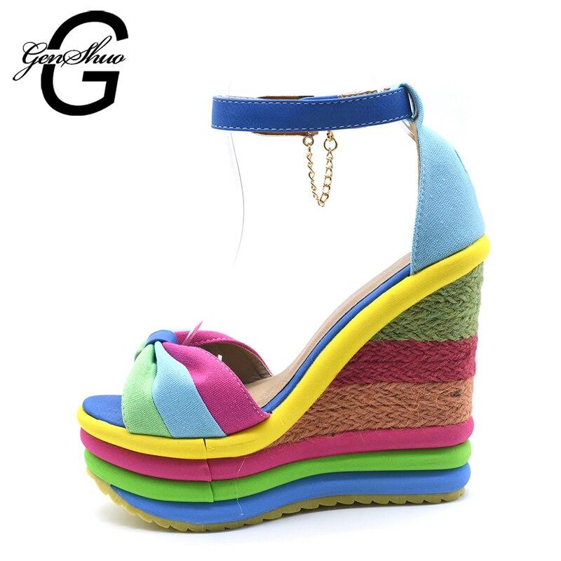 GENSHUO 2018 Summer Sexy Bohemia Rainbow Peep Toe Platform Sandals For Womens Ladies Blue Denim Wedges Sandal Femme Small Size 4 denim zipper hollow worn stiletto womens sandals