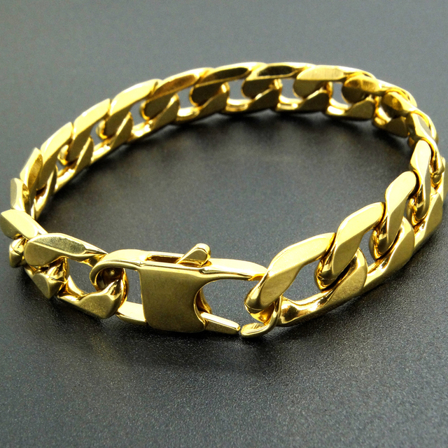 100% Stainless Steel Bracelet 6/8/12 mm 8 Inches Curb Cuban Chain Gold Color Bra