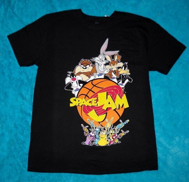 48db6aaff083b3 Men s SPACE JAM Movie Taz Devil Daffy Bugs Bunny LOONEY TUNES T-Shirt TEE ~  New Hip-Hop Simple Splicing Tee Tops Shirt