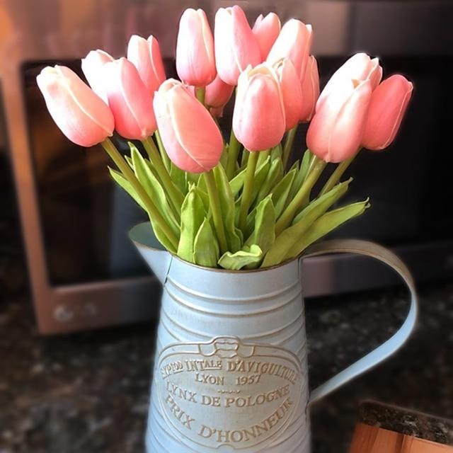 10 יח' פרחי טוליפ יוקרתיים מלאכותיים לבית 2