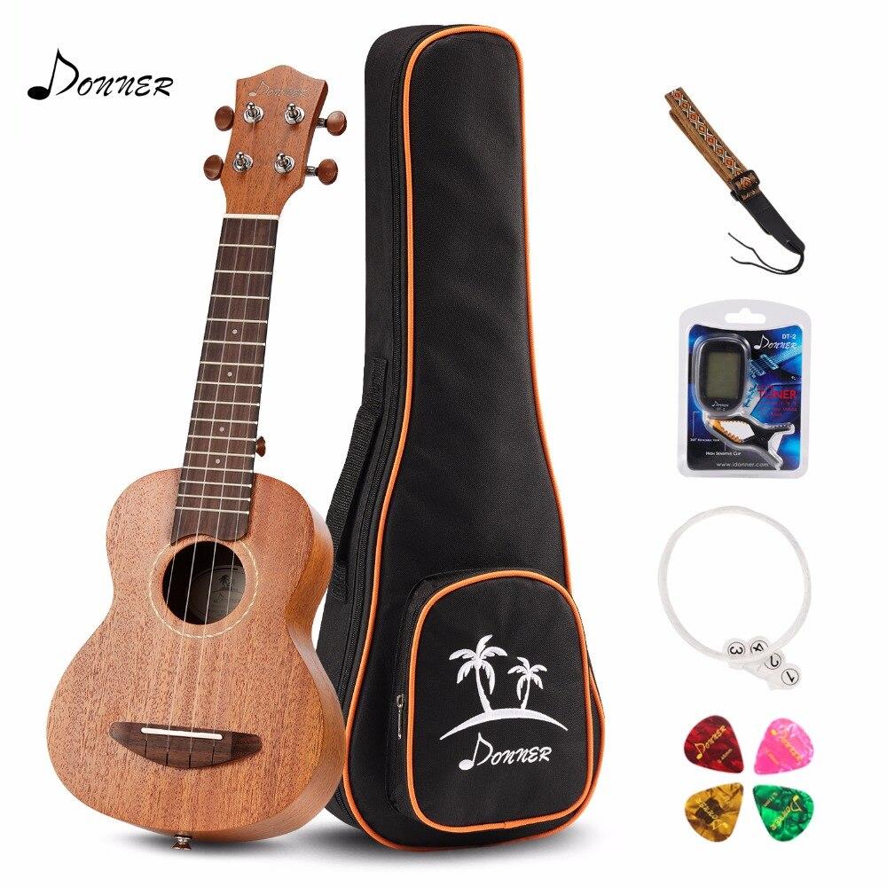 Donner 21 inch Soprano Ukulele Mahogany DUS-1 with Ukulele Set Strap Nylon String Tuner 21 soprano ukulele ukulele gig bag case 600d water resistant nylon hand strap 20 12