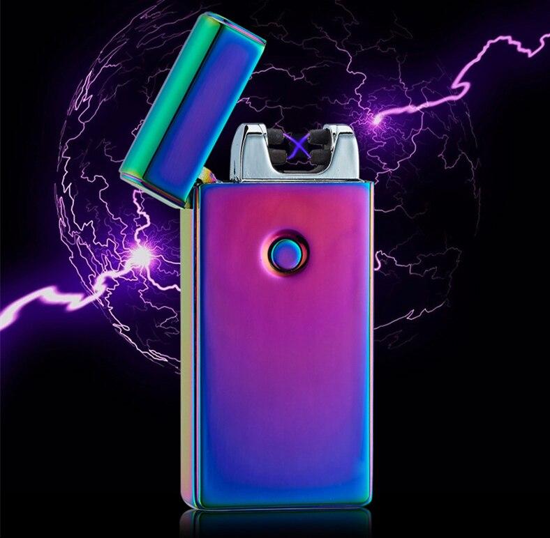 High Quailty Cross Double Arc Lighter Case font b USB b font Pulse Windproof Lighters Electronic