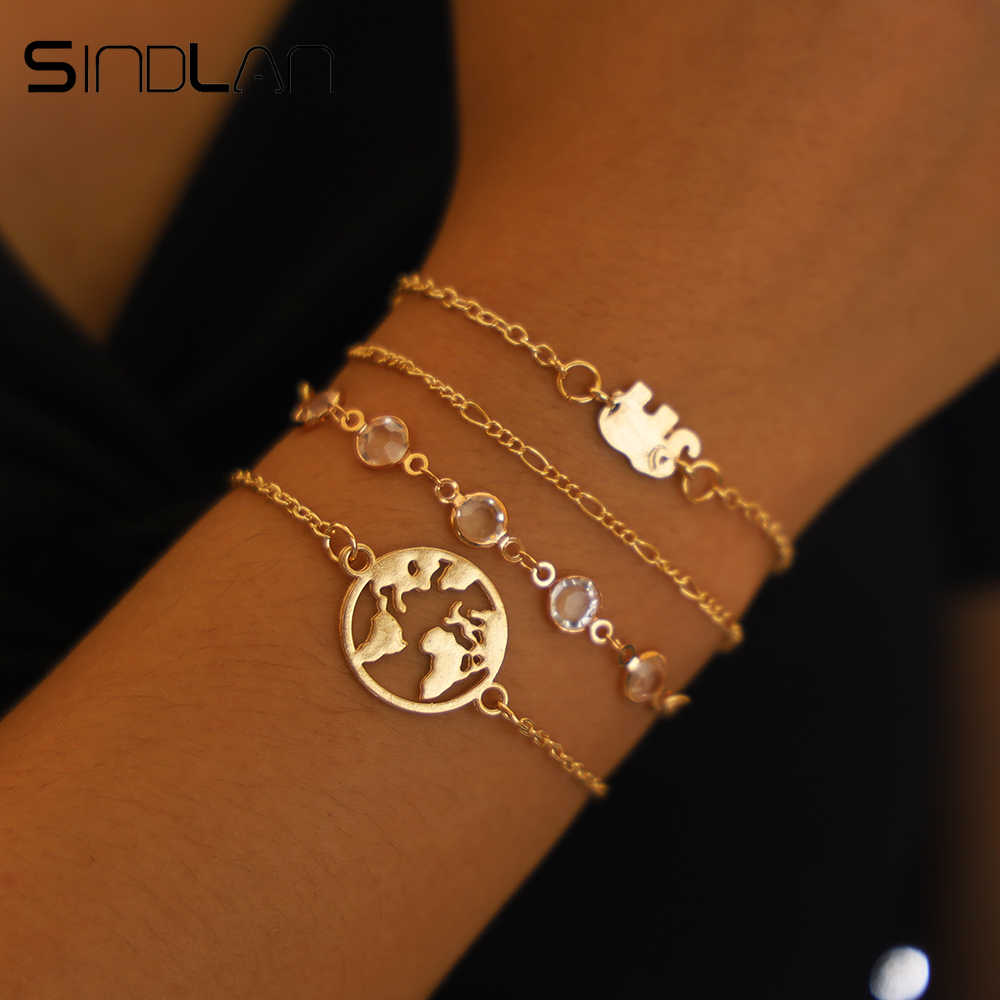 Sindlan 4PCs/set Map Elephant Charm Bracelets for Women Gold Crystal Wrist Chain Cool Fashion Hand Jewelry Female Bracelet