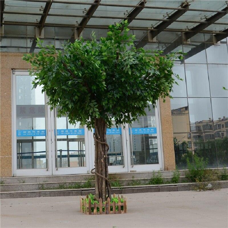 Искусственный фикус, микрокарпа, искусственное большое дерево, поддельные деревья, большое растение, украшение для отеля, лобби, композиция - 4