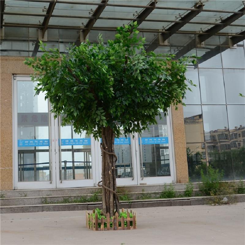 Artificial ficus microcarpa artificial grande árvore árvores falsas grande planta decoração do lobby do hotel composição - 4