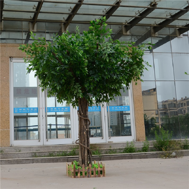 Ficus artificiel microcarpa artificiel grand arbre faux arbres grande plante décoration hôtel lobby composition - 4