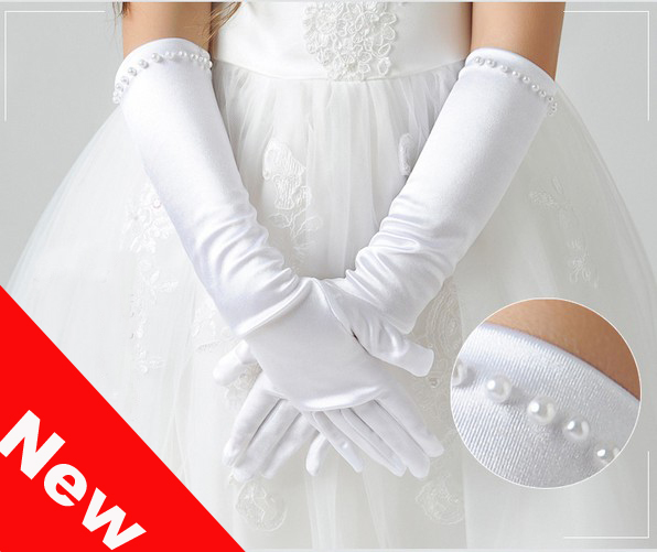 Kid Gloves Flower Girl Gloves Long Gloves Girl Dancing Costume Gloves Free Shipping Wholesale Bridal Gloves