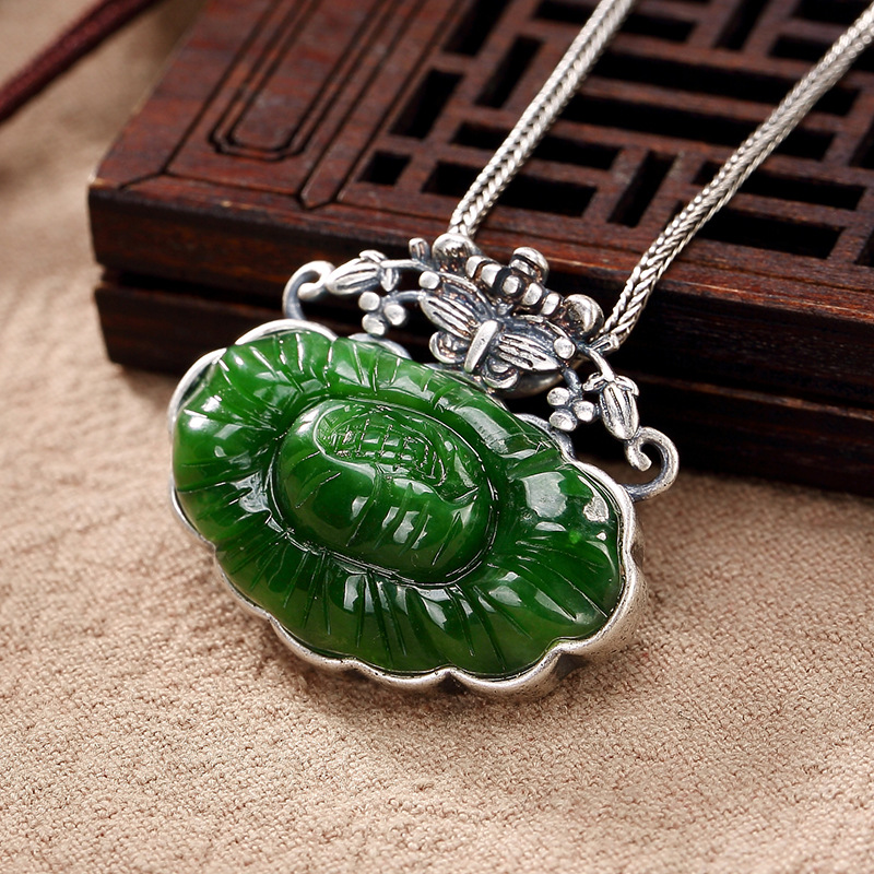 pure silver matte hetian jade inlay restoring ancient ways women lotus flower wholesale high-grade sweater chain pendant цена 2017