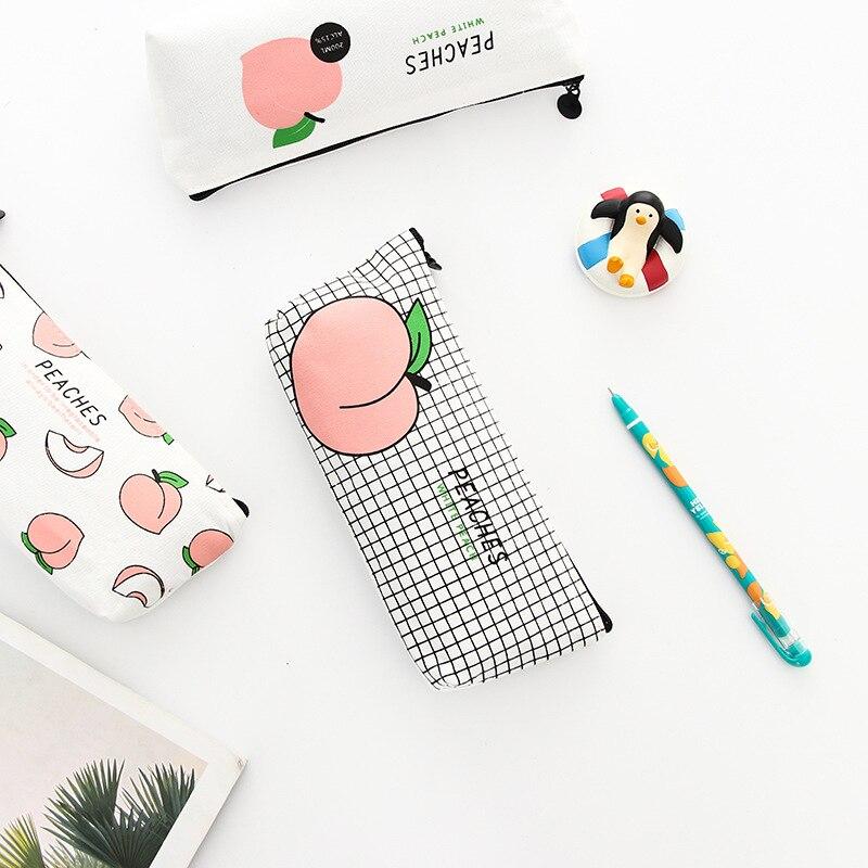 Cute Canvas Peach Pencil Case Kawaii Girls Pencil bags Simple Durable pencil box School Stationery Office Supplies High Quality in Pencil Cases from Office School Supplies