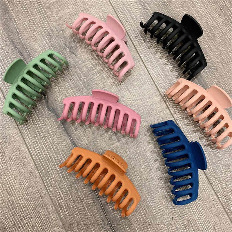 Simple Fashion Korean Solid Hair Claws Women Girls Elegant Frosted Acrylic Hair pins and clips DIY Hair Styling Accessories