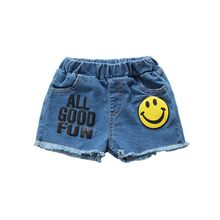 Girls Cool Jeans Cotton Smile Pattern Letter Print Shorts Girl Summer Casual Elastic Jean 1-4Y Hot(China)
